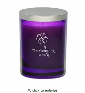 GEM COLLECTION CANDLE: Amethyst with 4 Leaf Clover and Celtic Name