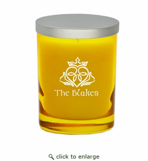 GEM COLLECTION CANDLE: Citrine with Claddagh and Celtic Name