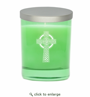GEM COLLECTION CANDLE: Emerald with Celtic Cross
