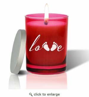 Gem Collection Ruby Glass Candle:Love Footprint