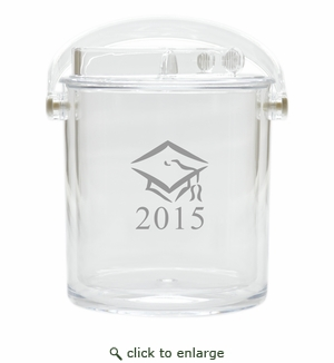 ICE BUCKET WITH TONGS: GRADUATION CAP w/ DATE