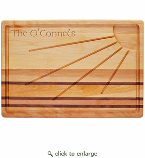 "INTEGRITY BOARD: 20"" x 13"" SUNBURST CARVING BOARD with Celtic Name"