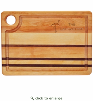 """INTEGRITY COLLECTION:14"""" x 10"""" STEAK CARVING BOARD PERSONALIZED FLAMINGO"""