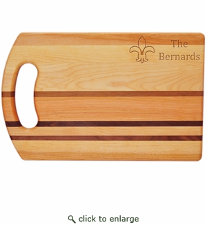 "INTEGRITY COLLECTION:14"" x 9"" BREAD BOARD PERSONALIZED FLEUR DE LIS"