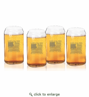 Land of the Free Because of the Brave Set of 4 Beer Can glasses 16oz