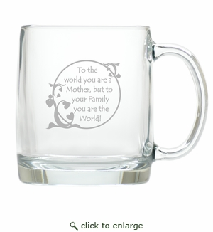 LARGE MUG (GLASS) : MOM IS THE WORLD