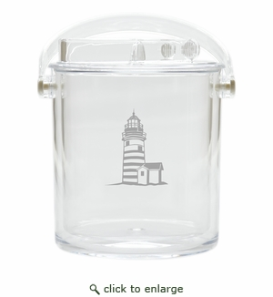 LIGHTHOUSE ICE BUCKET WITH TONGS