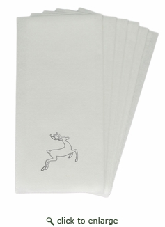 LINEN-LIKE DISPOSABLE GUEST TOWELS : 25 Count SILVER DEER