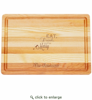 """MASTER COLLECTION: 14.5"""" x 10"""" MEDIUM BOARD EAT, DRINK, BE MERRY PERSONALIZED"""