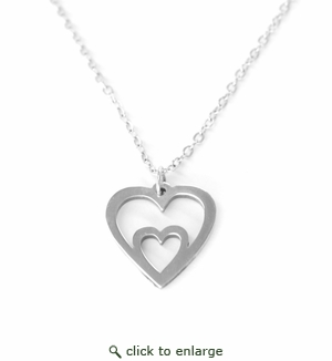 MOTHER AND CHILD DUAL HEART .935 STERLING SILVER
