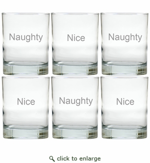 NAUGHTY OR NICE OLD FASHIONED - SET OF 6 GLASS