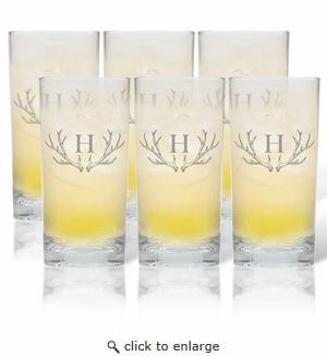 PERSONALIZED ANTLER MOTIF COOLER: SET OF 6 (Glass)