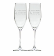 PERSONALIZED CHAMPAGNE FLUTE SET OF 2 NAME AND DATE (GLASS)