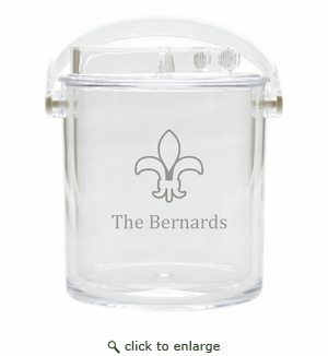 PERSONALIZED FLUER DE LIS ICE BUCKET WITH TONGS