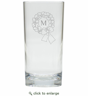 PERSONALIZED INITIAL WREATH COOLER: SET OF 6 (Glass)