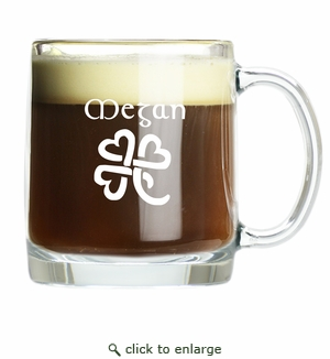 PERSONALIZED LARGE MUG (GLASS): Celtic Name with Heart Clover