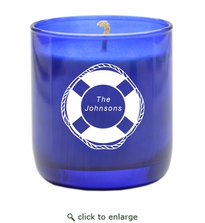 PERSONALIZED LIFE PRESERVER BLUE COLLECTION CANDLE