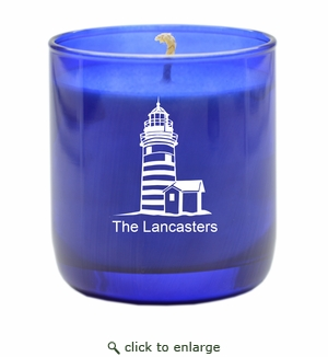 PERSONALIZED LIGHTHOUSE BLUE COLLECTION CANDLE