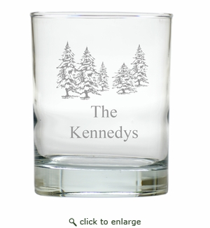 PERSONALIZED PINE TREES OLD FASHIONED - SET OF 6 GLASS