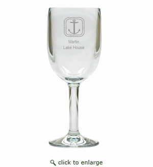 PERSONALIZED ROPE ANCHOR WINE STEMWARE - SET OF 4 (Unbreakable)