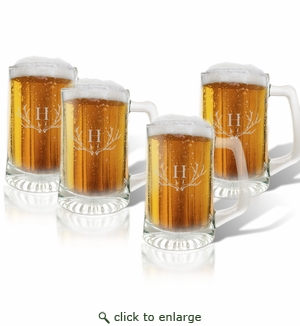 PERSONALIZED SPORTS MUG (GLASS) SET OF 4: PERSONALIZED ANTLER MOTIF