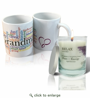 Pure Energy  Apothecary Lavender  Candle and Grandma Mug Set
