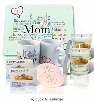 Pure Energy Apothecary Lavender Soap(2), Candle(2), Mom Cutting board and Mug