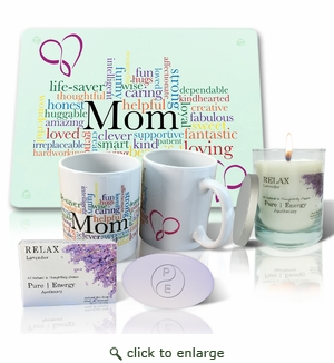 Pure Energy Apothecary Lavender Soap, Candle, MOM Cutting board and Mug