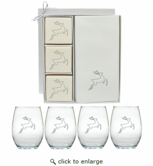 REINDEER ECO-LUXURY LATHER & WINE GIFT SET