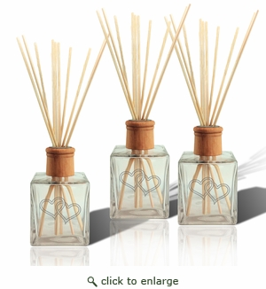 SET OF 3 - Personalized Reed Diffuser Double Heart