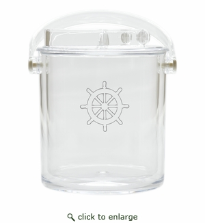 SHIP WHEEL ICE BUCKET WITH TONGS