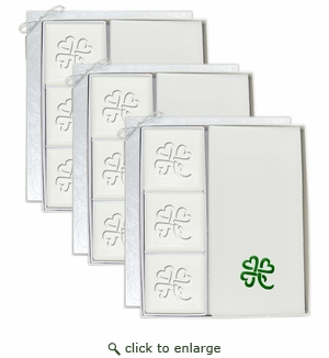 SIGNATURE SPA COURTESY GUEST SET VERBENA 3 SETS: 3 Bars & 12 Linen Like Towels Personalized with Heart Clover
