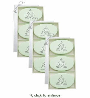 SIGNATURE SPA GREEN TEA & BERGAMOT TRIO 3 SETS: Three Bars Personalized with Celtic Knot