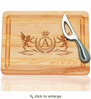 SMALL MASTER COLLECTION CUTTING BOARD with INITIAL and KNIFE