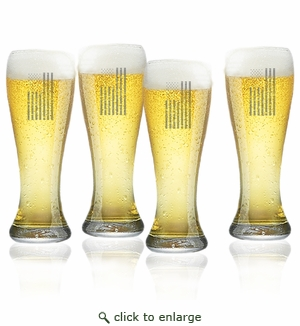 Vertical American Flag Set of 4  Pilsner Glasses 16oz