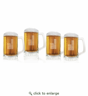 Vertical American Flag Set of 4  Sport Mugs 15 oz