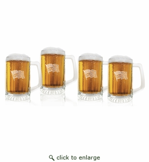 Waving American Flag Set of 4  Sport Mugs 15 oz