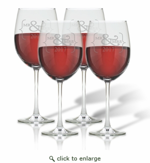 WINE STEMWARE - SET OF 4 (GLASS) : Mr & Mrs 2017