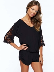 L Space Black Mali Romper