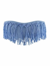 L Space Dolly Fringe Bandeau Powder Blue - On Sale