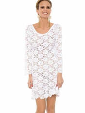Rebecca Full Lace White Mini Dress