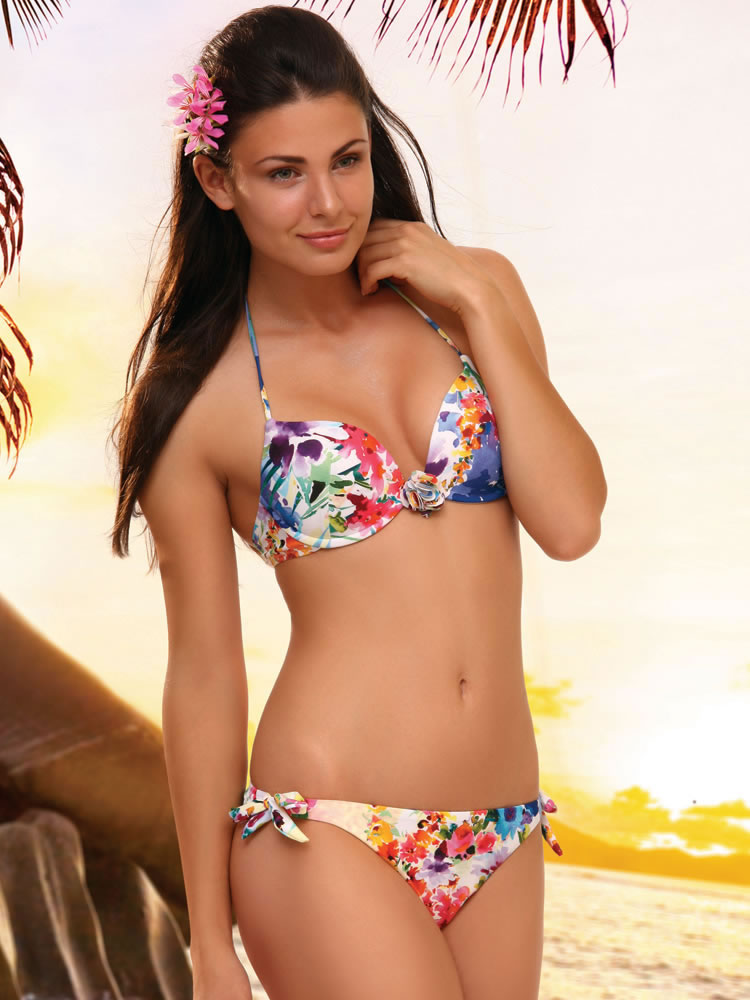 Home &gt Shop By Style Two Piece Swimsuits Floral Push Up Underwire