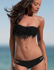 L Space Black Knotted Fringe Dolly Estella - On Sale