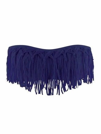 L Space Dolly Fringe Bandeau Steel - EliteFashionSwimwear.com