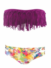 L Space Dolly Bandeau Fringe Top Estella Bikini - Final Sale