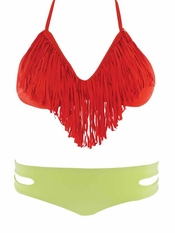 L Space Paprika Audrey Fringe Top Estella - On Sale