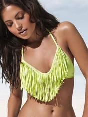 L Space Audrey Fringe Halter Citrus - On Sale