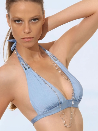 Prelude Swimsuit - Blue Halter Swim Top - Elite Fashion Swimwear