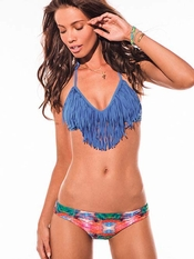 L Space Periwinkle Audrey Fringe Carnivale Monique  - On Sale
