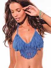 L Space Periwinkle Audrey Straight Fringe Top - On Sale